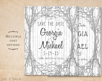 Winter Trees - Wedding Save the Date Printable 4x5 Postcard - Wood Branches Twig Birch Rustic Nature Casual - Grey Gray Silver Black White