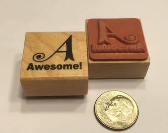 """small """" Awesome """" rubber stamp, 20 mm (F1)"""