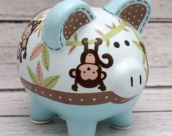 Personalized Piggy bank,  Blue, brown and Tan monkey Custom, Artisan hand painted ceramic bank
