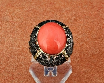 ON SALE Victorian natural Sicily coral rare antique ring