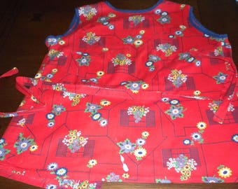 vintage smock apron bright true red windowbox flower print navy piping yellow white sunflowers