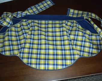 vintage half apron denim blue and yellow woven fabric machine decorative stitching large pockets