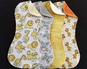 Lions, Tigers, Giraffes, and Elephants Terry and Flannel Burp Cloth Set