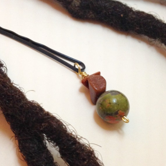 Unakite Brown Goldstone Hair Pin Bead Jewelry Locs, Dreadlocks, Braids and Twists