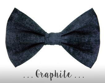 Dark Gray Dog Bow Tie; Black Dog Collar BowTie: Graphite
