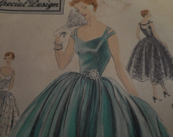 RARE Vintage 1950's Vogue 4418 Special Design Evening Gown Sewing Pattern, Size 16 Bust 34