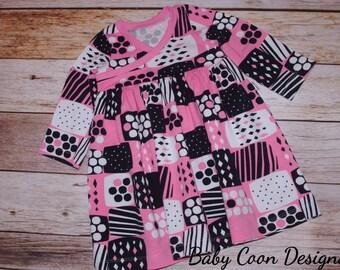 Organic Baby Dress Organic Euro Designer Jersey baby girl dress toddler dress - Custom Order sizes - 12 months - 6/7 // size 12 m - in stock
