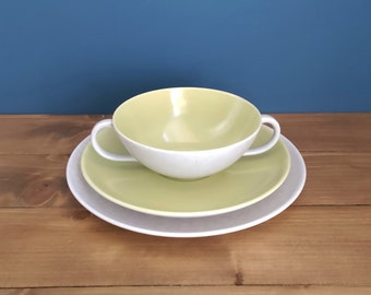 Poole Twintone Twin Handled Soup Bowl, Saucer and Side Plate in the Seagull pattern - Lime Green and Speckled Grey