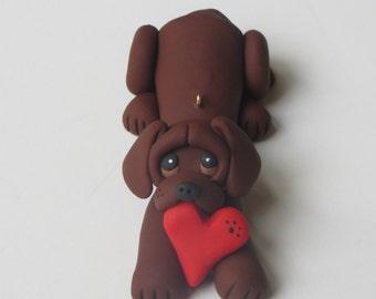 Labrador Retriever Dog Christmas Ornament Polymer Clay Chocolate