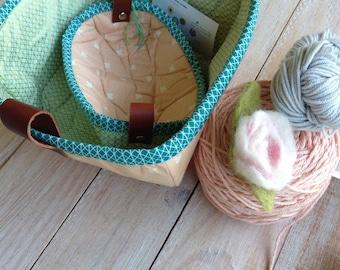 Tray and Basket Set with Leather handle Set, Fabric Basket, Treasures Basket and Notion Tray Set, Baby Basket/Tray Set
