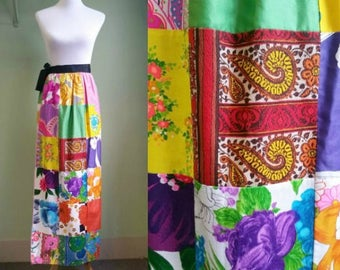 1960s Patchwork Maxi Skirt - Alice Wrap Skirt - One Size