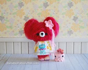 kawaii amigurumi bear, crochet fuzzy fuschia pink bear plush, pink bitty octopus
