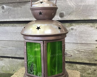 custom etched stained glass lantern