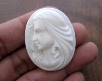 Hand Carved  Goddess Cameo, Oval cabochon, , Jewelry making Supplies B6460