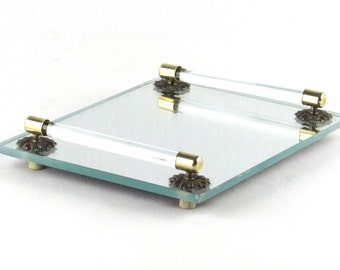 Smaller Mirrored Vanity Tray with Glass and Brass Rails
