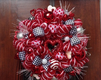 Whimsical Valentines Mesh Wreath