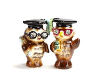 Vintage Owl Salt Pepper Shakers MINT, Lefton Signed Graduating Owls, Rhinestone Eyes, Brown Owls, Collectible Kitsch 1950s Shakers, Epsteam