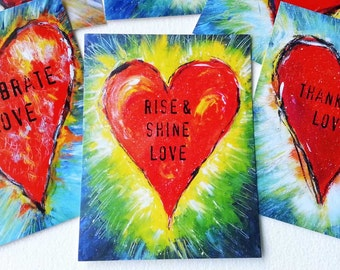 6 Shining Heart Postcards with Uplifting Sentiments! Rise and Shine Love, Thank you Love, Celebrate Love and More!