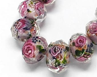 8pc 12x9mm handmade faceted flat round lampwork glass beads-off180