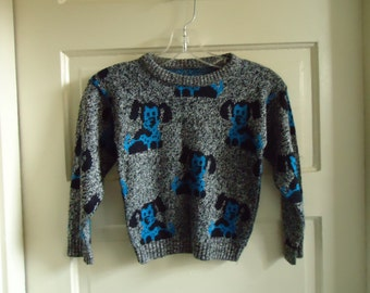 Vintage 80s Childs DOG PRINT Knit Sweater
