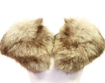 Real Fur Stole Scarf, Beige Brown Fur Collar, Genuine Fur Shrug, Large Natural Fur Neckwarmer, Bridal Fur, Big Wrap Stole, Winter Wedding