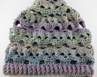 Gray Multicolored Crocheted Skulls Slouchy Beanie - READY TO SHIP