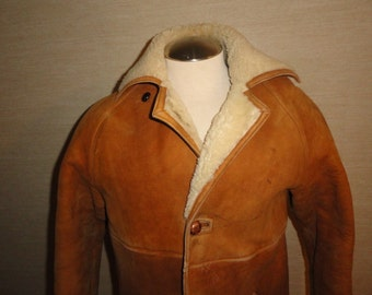 Men's Vintage RICHARD DRAPER Tan Brown Sheepskin Shearling Winter Coat Sz-40 Made In England