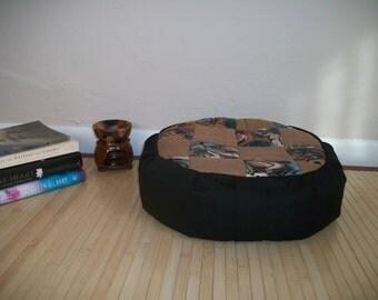 "Patchwork Quilt and Medallion Zafu Meditation Cushion. Dorm Pillow. Cotton/Twill/Blend. 15x5. Buckwheat Hulls. 6""L. Velcro closure. USA made"