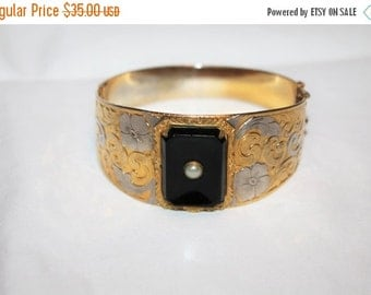 Christmas Sale Vintage Bangle Bracelet, Wide Bangle Bracelet, Two Tone Embossed Bracelet, 1960s Jewelry