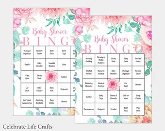 60 Baby Bingo Cards - Pink Floral Baby Shower Bingo Game - prefilled cards - Instant Download - Girl Baby Shower Games B33001
