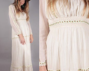 60s Boho Gunne Sax Style Ivory Maxi Dress