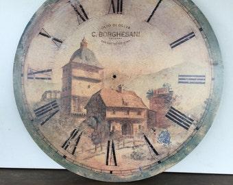 Wall Clock Face w/o Hands - Bologna Italy Print - Shabby Chic Wall Decor