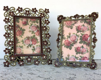 Ornate Deep Red Picture Frames - 4 x 6 - Set of 2 Eclectic Table Top Frames - Filigree Metal Frames - 4x6 Easel Back