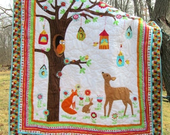 Woodland Baby Quilt, Forest Animals, Owl Fox Deer Woods Flannel