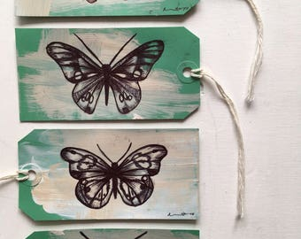 Origanal Butterfly Drawings on Three Tags