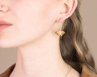 Leaf Earrings - Ginko Leaf Earrings - dangle earrings - brass and sterling