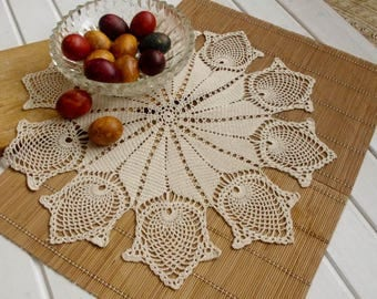 Cream crochet doily with tulips Large crochet doilies Handmade cotton lace doily Crocheted doilies Large crochet doily 21 inches No. 353
