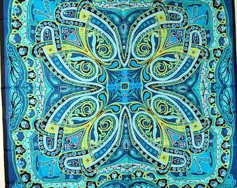 "Vintage VERA Silk Scarf Paisley  34"" Square NOS Teal Black Blue Chartreuse"