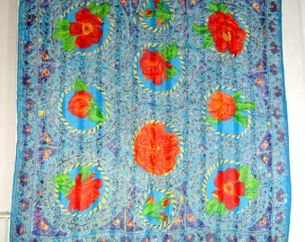 "Vintage Silk Scarf Teal Red 'Denim Stripe' Floral Large 34"" x 33"""