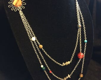Silver solar system necklace
