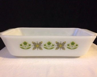 Anchor Hocking - Fire King - Meadow Green - Loaf Pan - Yellow and Green - 1970's - 1 QT