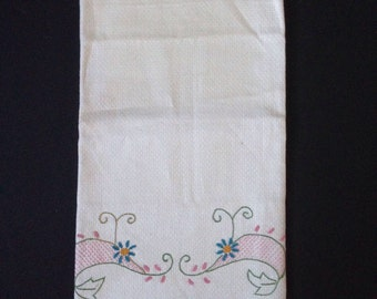 Tea Towel - Embroidered Whales - Ivory, Pink, Green - Single -