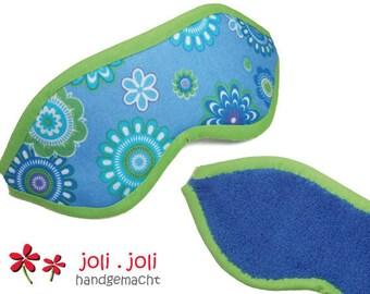 Soft Eye Mask in blue-green 'Flower Power'