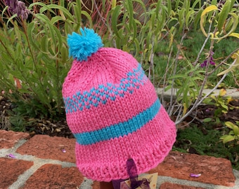 Handknit Baby Girl Fair Isle Beanie Hat Bright Pink and Turquoise 6-12 mos.