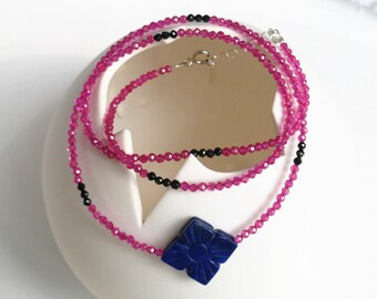 100% natural gemstone red spinel black spinel lapis lazuli clover 925 sterling silver 2-way necklace bracelet handmade jewelry