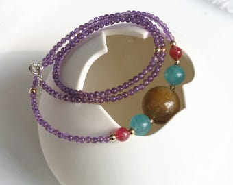 natural gemstone Amethyst Gold Rutilated Quartz amazonite Strawberry Quartz 925 sterling silver 2-way necklace bracelet handmade jewelry