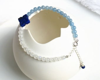 "100% natural gemstone moonstone lapis lazuli Aquamarine beads 925 sterling silver bracelet 6.3"" to 7.8""  handmade jewelry"