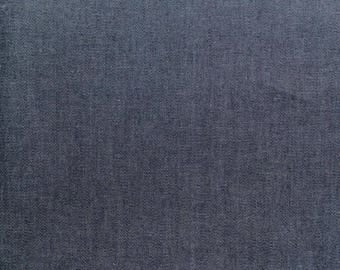 Dark Blue Indigo 4oz Denim Cotton Fabric - Enzyme washed for softness - Sold By The Metre - UK SELLER