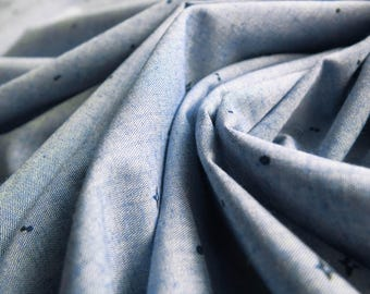 Light Blue Chambray Cotton Fabric with Dark Navy Blue Star Print - Sold By The Metre - UK SELLER
