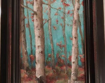 BLUSHING BIRCHES a framed original oil painting by Beth Capogrossi, birch trees